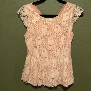 Lace blouse, xsmall, pink white and gold